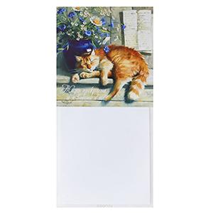 Магнитный блокнот на холодильник с котом