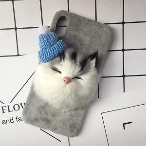 Зимний чехол для телефона - спящий кот - обзор - купить