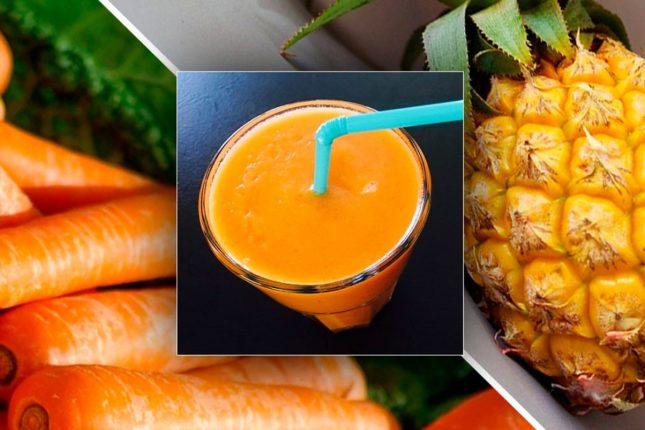 Морковный смузи с бананом и ананасом - рецепт приготовления