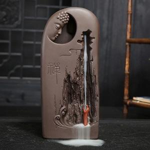Керамическая подставка в виде фонтана - Будда - благовония - обзор - купить
